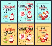 Set of Posters Final Christmas Sale Discounts 50. Set of posters final Christmas sale holiday discounts 50 off Santa Claus, Snow Maiden and cartoon elf Royalty Free Stock Photo