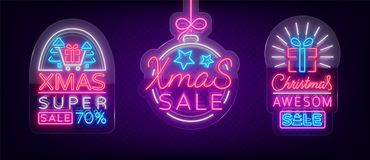 Set of posters, flyers cards on the topic of Xmas sales, Christmas neon style. New year discount. Festive winter sale Royalty Free Stock Image