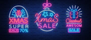 Set of posters, flyers cards on the topic of Xmas sales, Christmas neon style. New year discount. Festive winter sale Royalty Free Stock Photos