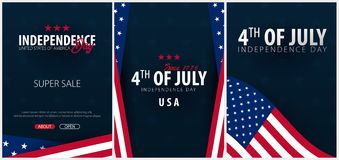 Set Posters of Fourth of July. 4th of July. Independence Day of the USA. Vector illustration. Royalty Free Stock Images