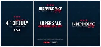 Set Posters of Fourth of July. 4th of July. Independence Day of the USA. Vector illustration. Stock Photo