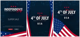 Set Posters of Fourth of July. 4th of July. Independence Day of the USA. Vector illustration. Set Posters of Fourth of July. 4th of July. Independence Day of Royalty Free Stock Image