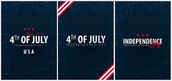 Set Posters of Fourth of July. 4th of July. Independence Day of the USA. Vector illustration. Set Posters of Fourth of July. 4th of July. Independence Day of Royalty Free Stock Photos