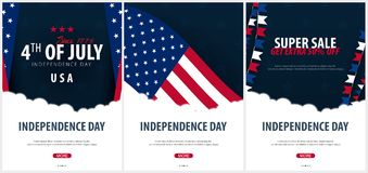 Set Posters of Fourth of July. 4th of July. Independence Day of the USA. Vector illustration. Set Posters of Fourth of July. 4th of July. Independence Day of Stock Photos