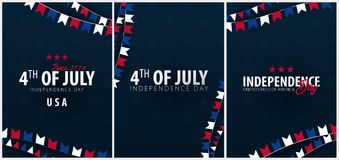 Set Posters of Fourth of July. 4th of July. Independence Day of the USA. Vector illustration. Stock Image