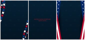 Set Posters of Fourth of July. 4th of July. Independence Day of the USA. Vector illustration. Royalty Free Stock Photos