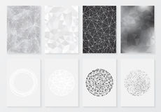 Set of posters with geometric background Stock Images
