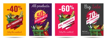 Set of posters for grocery food store with shopping basket illustration. And discounts numbers vector illustration