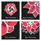 Set of posters with hand drawn tattoo floral Royalty Free Stock Images