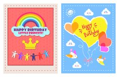 Set of Posters Happy Birthday Little Princess Royalty Free Stock Photos