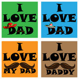 A set of posters i love my dad. i love my daddy. Stock Photo