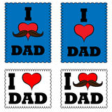 A set of posters i love my dad. i love my daddy. Royalty Free Stock Photography