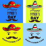 A set of posters i love my dad. i love my daddy. Posters with the image of father's day Mexican mustache and a sombrero Royalty Free Stock Photography