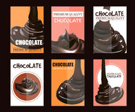 Set of Posters with Melted Pouring Chocolate. Package Design. Vector Template Illustration. Dessert Background. Stock Photography