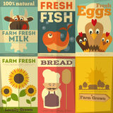 Set of Posters for Organic Farm Food. Organic Fresh Farm Food Posters Set. Retro Placard in Flat Design Style. Illustration Stock Photo