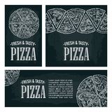 Set posters poster slice pizza Pepperoni, Hawaiian, Margherita, Mexican, Seafood, Capricciosa. Royalty Free Stock Photography