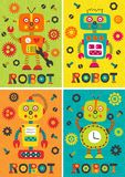Set of isolated colorful robotsset of posters with robots part 1 Stock Images