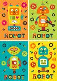 Set of posters with robots part 2 Stock Image