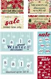 Set of posters for seasonal winter and Christmas sales, discounts and price tags with snowflakes. Vector illustration. Seasonal winter and Christmas sales vector illustration