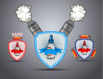 A set of posters with the shield and the e-cigarette Stock Image