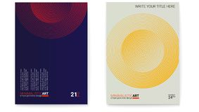 Set of posters with simple shape in bauhaus style. Cover design with modern geometric minimalistic art. Modern digital. Art with halftone patterns. Memphis and royalty free illustration