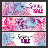 Set of posters Spring sales, set of icons and symbols with bike on a watercolor background, flowers, flyer templates. With lettering. Typography card, banner Royalty Free Illustration