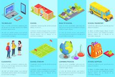 Collection of Posters with Text Devoted to School. Set of posters with text devoted to school. Vector illustration of various technologies, buildings, teenage Royalty Free Stock Images