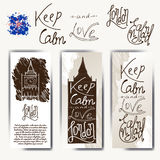 Set of posters with typographical phrase Keep calm and love England. Vector design art postcard with creative slogan. Retro greeti. Ng card in sketch style stock illustration