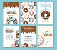Set posters vector template with donuts. Sweet background. For bakery shop or cafe. Set posters vector template with donuts. Sweet background. Advertising for stock illustration