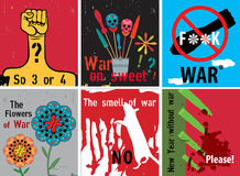 Set of posters on the war. Vector illustration. Peace, war, security in the world Stock Photography