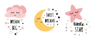 Vector pink sleepy moon star cloud kids designs Childish style pink color. Set of posters yellow sleepy moon pink star cloud for baby room decoration Childish royalty free illustration