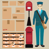 Set of postman with letter box. Royalty Free Stock Photo
