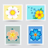 Set postmarks with a flowers Stock Images