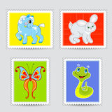 Set of postmarks wit a baby animals Royalty Free Stock Photos