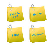 Set of posts. like, follow, share and comment Royalty Free Stock Photos