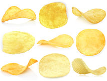 Set of potato chips Stock Photos