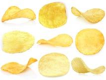Set of potato chips. Close-up stock photos