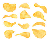 Set of potato chips close-up Stock Images