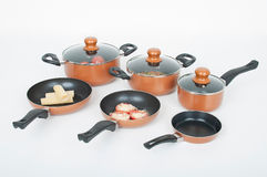 Set of pots and pans. For the kitchen stock images