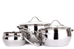 Set of pots and pans Royalty Free Stock Photography
