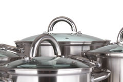 Set of pots and pans Royalty Free Stock Photos
