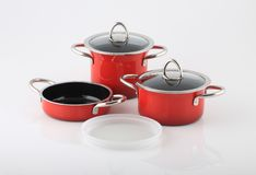Set of pots and pans on white background. Stock Photo