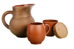 Set of Pottery, it is isolated. On white Royalty Free Stock Photos