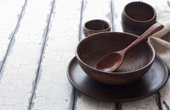 Set of pottery over natural wood background Stock Image