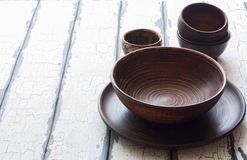 Set of pottery over natural wood background Royalty Free Stock Photo
