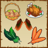 Set poultry, eggs, and various symbolic attributes Royalty Free Stock Images