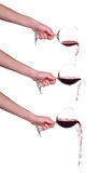 Set of Pouring red wine from glass with hand, wine, splash, jet isolated on white Stock Photos
