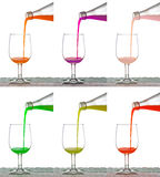 Set of pouring water into glasses  on white background Royalty Free Stock Photo