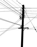 A set of powelines and telegraph wires Stock Photo