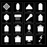 Set of Power, Dashboard, Home, Voice control, Eco home, Micropho. Set Of 16 icons such as Power, Dashboard, Smart home, Home, Cooler, Eco Microphone, web UI Royalty Free Illustration